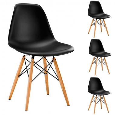 Conjunto 4 Cadeiras Charles Eames Eiffel Wood Preta