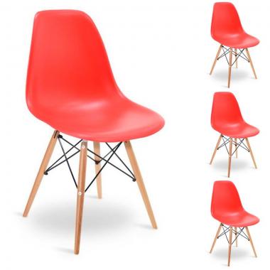 Conjunto 4 Cadeiras Charles Eames Eiffel Wood Vermelha